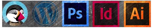 Prestashop, wordpress (cms), Prestashop, Illustrator, Indesign.